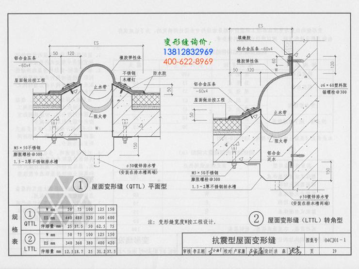 橡胶抗震屋面变形缝QTTL图集做法