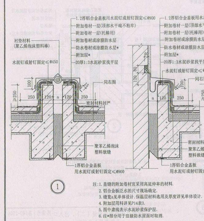 刚性防水屋面变形缝1